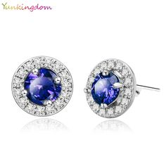 Yunkingdom 5 Colors Fashion Paragraph Gold Plated Earrings Blue Zirconia Stud Earrings Small Stud Earrings For Women