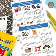 Student Choice Menu Boards, Bible-Based, Preschool, Kindergarten, Religion, Homeschool