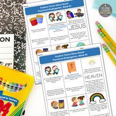 Student Choice Menu Boards, Bible-Based, Preschool, Kindergarten, Religion, Homeschool