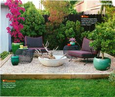 good idea for patio amongst LOTS of grass...use of rock don't have to level ground to lay stone.