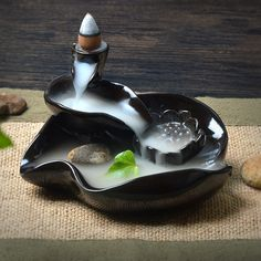Cheap ceramic lotus, Buy Quality incense burner directly from China lotus ceramic Suppliers: Ceramic Lotus Pond Incense Burner smoke tower Multipurpose incense burner stove reverse flow back Gift Feng Shui, Indoor Water Features, Biscuit, Cerámica Ideas, Ceramic Incense Holder, Ceramic Baking Dish, Little Buddha, Lotus Pond, Clay Dragon