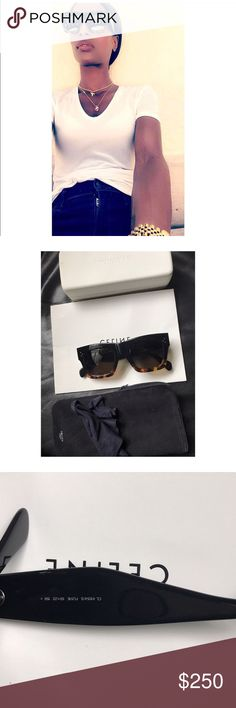 CELINE CATHERINE SUNGLASSES Worn few time in great condition comes with dust cloth and safety bag .. I can put extra case in also my items is 100% authentic serious buyers only thanks!! Pic is of me modeling it to big for me Celine Accessories Sunglasses
