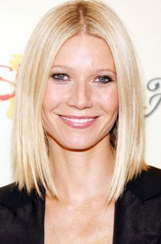 Gwyneth Paltrow: Long Angled Straight Blond Bob Hairstyle