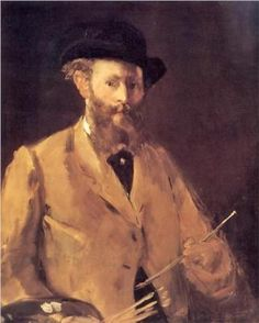 """Self Portrait with Palette"" (circa by French artist - Édouard Manet Oil on canvas, x cm. *Note: This is an image of Edouard Manet. Edouard Manet, Renoir, Albrecht Dürer, Berthe Morisot, Impressionist Artists, Peter Paul Rubens, Edgar Degas, French Artists, Sculptures"