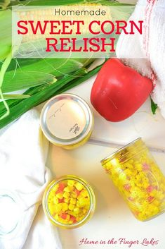 Enjoy this delicious relish on your hot dogs and hamburgers, or dress up a salad with it! Water Bath canning instructions for long term shelf storage. Corn Relish Recipes, Canning Soup Recipes, Pressure Canning Recipes, Low Acid Recipes, Canned Meat, How To Cook Corn, Oatmeal Cake, H & M Home, Wonderful Recipe