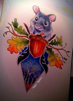 Mouse made by Taty Tattoo  topo cincillà ghianda acorn foglie leaves watercolor pencils colors tatuaggio sketch studio