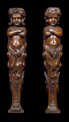 Antique vyřezávané pár vlašských ořechů caryatids chlapec a dívka barokní styl.