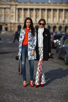 Pattern. Color. Jackets. Red Heels. #fashion