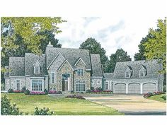 Eplans House Plan: A variety of window treatments, stepped rooflines, and an imposing entrance combine to create an interesting and inviting exterior. The interior design is built around an equally impressive grand room with