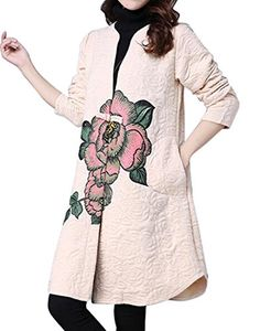 NQ Womens Floral Print Trench Coat Winter Cotton-Padded Jacket creamy-white S