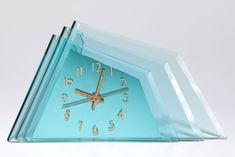 Deco Aqua Glass Crystal Bent Fyrart Waltham Clock | Clocks | Decophobia | 20th Century Design