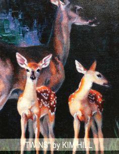 """Twins"" by Kim Hill Deer Art, Moose Art, Kim Hill, Dappled Light, Kangaroo, Twins, Creative, Animals, Baby Bjorn"