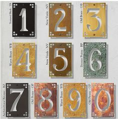 Brass Framed House Numbers, 6 Inch  These Beautiful Solid Brass House  Numbers Use Spacers To Float Each Number Above The Wall Surface To  Highlight The ...