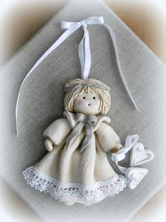 Genuine Porcelain China Made In Japan Salt Dough Crafts, Salt Dough Ornaments, Angel Ornaments, Christmas Clay, Christmas Angels, Christmas Crafts, Clay Projects, Clay Crafts, Diy And Crafts