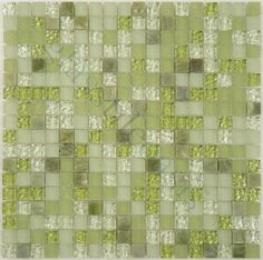 """Quest  Via Appia Series, 1/2"""" x 1/2"""", Summer Grass, Glossy & Frosted, Green, Glass and Stone"""