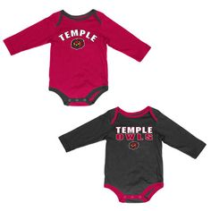 Temple Owls Colosseum Infant Lil's Fan Long Sleeve 2-Pack Bodysuit Set - Garnet/Black - $18.99
