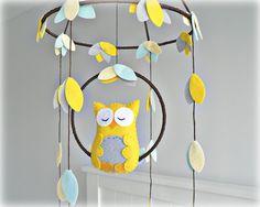 Owl mobile Woodland baby mobile nursery decor by LullabyMobiles