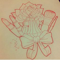 Awesome girly tattoo for Cosmetology girls.