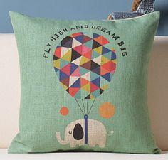 Decorative Cotton Linen Throw Cushion Case, Printed Pillow Case, Couch Pillows,Children Pillows,Fun Pillows, Elephant Fly High