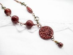 Valentine Mixed Metal Lariat Red Bead Necklace by LittleBitsOFaith, $35.00