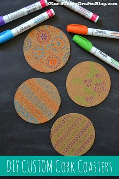 Glued to my Crafts: DIY Custom Cork Coasters Sharpie Crafts, Glue Crafts, Cork Crafts, Coaster Art, Coaster Crafts, Homemade Coasters, Cork Coasters, Diy Craft Projects, Crafts For Kids