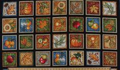 "23.75"" X 44"" Panel Shades of Autumn Fall Harvest Fruit Apples Pears Pumpkin Squash Vegetables Oak Maple Leaves Sunflowers Sunflower Acorns Cotton Fabric Panel (ZD-56813-001)"