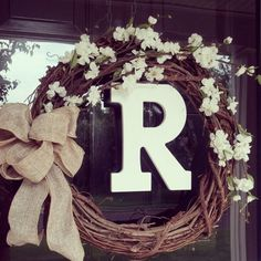 Wreath, Personalized 18 Grapevine Wreath, Front Door Wreath, Burlap Bow Wreath, Monogram Wreath via Etsy. This would be a good wedding gift! Wreath Crafts, Diy Wreath, Grapevine Wreath, Wreath Burlap, Wreath Ideas, Rustic Wreaths, Front Door Decor, Wreaths For Front Door, Door Wreaths