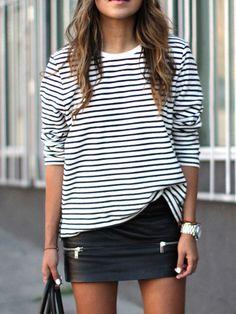 White Black Long Sleeve Striped T-Shirt -SheIn(Sheinside) Mobile Site