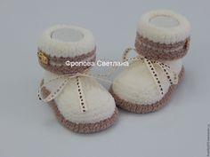 Купить Пинеточки Сливочные - комбинированный, пинетки, пинетки для новорожденных, пинетки для девочки, пинетки в подарок