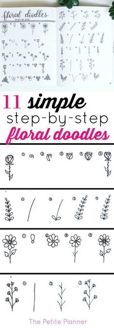 11 Simple Step-by-Step Floral Doodles to add to your bullet journal #bujo #bulletjournaling #journaling #ihavethisthingwithbujo