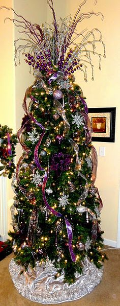 Cristhmas Decorations Tree Ideas : Illustration Description Love the topper but in red and green Purple Christmas Tree, Christmas Tree Wreath, Beautiful Christmas Trees, Noel Christmas, Christmas Tree Toppers, Xmas Tree, All Things Christmas, Christmas Tree Decorations, White Christmas