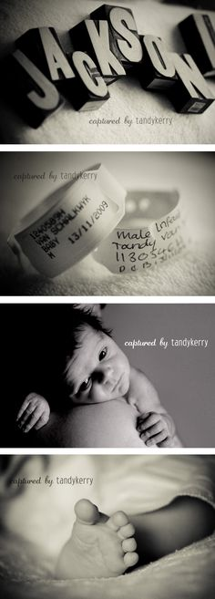 Infant Photography Ideas | Mom and Baby Hospital Identification Bracelets | Little Feet