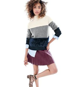 J.Crew women's Collection colorblock shearling sweater, faux-leather pleated mini skirt and lace-up heels in leopard calf hair.