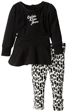 Calvin Klein Baby Girls Tunic with Printed Leggings Bla 12 Months *** Click image to review more details.