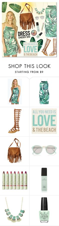 """""""Love the Beach"""" by justlovedesign ❤ liked on Polyvore featuring Boohoo, American Eagle Outfitters, River Island, Pixi, Vincent Longo, Charlotte Russe, OPI, FACE Stockholm, women's clothing and women"""