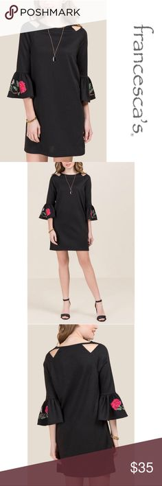 Francesca's Embroidered Sleeve Knit Dress Francesca's Embroidered Sleeve Knit Dress. Dress it up or down! Super soft knit fabric! Super cute! 73% Polyester and 27% Cotton. BRAND NEW with tags. Francesca's Collections Dresses