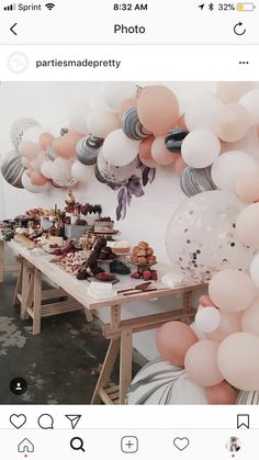 Beautiful mauve, pink, grey, and champagne balloon wall at baby shower. Champagne Birthday, Champagne Party, Gold Birthday Party, 13th Birthday Parties, Gold Party, 16th Birthday, 21st Birthday Decorations, Baby Shower Decorations For Boys, Tumblr Birthday