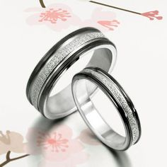 Handmade Black Groom His and Her Wedding Engagement Anniversary Titanium Couple Rings Set Court Shape. $116.00, via Etsy.