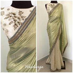 Stunning pista green and off white color combination designer saree and blouse. Blouse with floral design hand embroidery gold trhead work. Simple Sarees, Trendy Sarees, Stylish Sarees, Fancy Sarees, Kerala Saree Blouse Designs, Half Saree Designs, Saree Blouse Neck Designs, Sari Dress, Nikkah Dress
