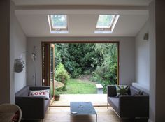 A new sitting space added to the rear of the kitchen in a terraced property in Leytonstone. House Extensions, Victorian Homes, Terrace, Windows, Interior Design, Extension Ideas, Kitchen, Interiors, Space