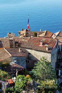 Village Houses, French Riviera, San Francisco Skyline, Coast, France, Sea, Wall Art, Mansions, House Styles