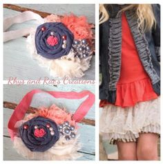 A personal favorite from my Etsy shop https://www.etsy.com/listing/226054138/coral-denim-blue-ivory-rosette-shabby