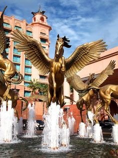The entry fountain at the Atlantis Hotel in the Bahamas. Atlantis Bahamas, Nassau Bahamas, Us Virgin Islands, Water Fountains, Paradise Island, Equine Art, Cayman Islands, Horse Stuff, Water Features