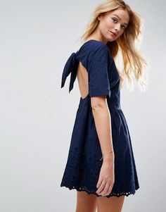 ASOS Broderie Smock Dress with Open Back Detail - Navy