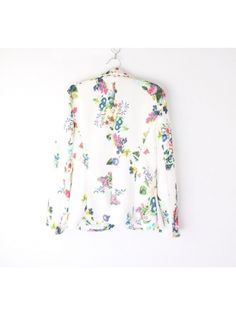 white flower pattern turn-down neck tailored suit