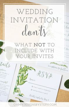 Wedding Invitation Mistakes: What NOT to include on your invites