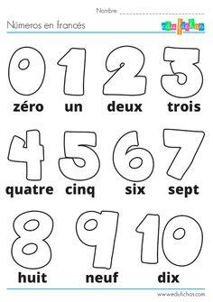 Ficha de actividades infantiles con los números en francés para colorear. Descarga fichas educativas para enseñar francés a los niños. Aprender los números.