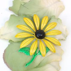 Vintage Metal Flower Brooch Yellow Floral Pin Black by WhimzyThyme #summer #wedding #retro #hippy