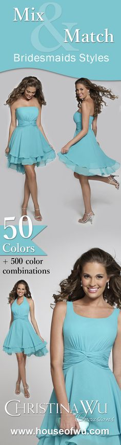 More than 50 colors and 500+ color combinations. Styles that blend with another, yet stand distinctly on their own – for the bride who wants the cohesion of a universal bridesmaid look, or for the growing mix-match bridal party. #bridesmaid
