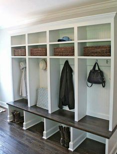 A mudroom or an entryway is usually a small space that needs a lot of storage to hold lots of stuff. We've gathered lots of small mudroom storage ideas for you. Mudroom Laundry Room, Mud Room Lockers, Entry Way Lockers, Built In Lockers, Mudroom Cubbies, Wood Lockers, House Of Turquoise, My New Room, Home Organization